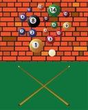 Bilardowe wskazówki i basenu piłki ilustracja wektor