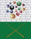 Bilardowe wskazówki i basenu piłki ilustracji