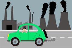 Bilarna och fabriksföroreningen vektor illustrationer