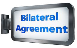 Bilateral Agreement on billboard background. Bilateral Agreement wall light box billboard background , isolated on white Royalty Free Stock Image