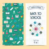Bilateral vertical school flyer, brochure, banner. Back to school. Seamless background. �. Bilateral vertical school flyer, brochure, banner. Back to school Stock Photos