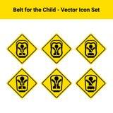 Bilbälte för barnet som isoleras på en vit bakgrund symboler för pappfärgsymbol ställde in vektorn för etiketter tre Royaltyfri Bild