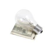 Bilb léger avec des dollars Image libre de droits