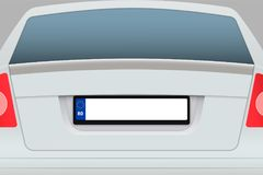 Bilbaksidasikt med registreringsskylten vektor illustrationer