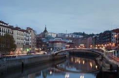 Bilbao alla sera Fotografia Stock Libera da Diritti
