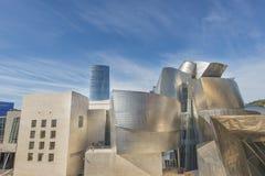 Bilbao, Basque country, Spain,  october 30: Guggenheim museum. Guggenheim museum with Iberdrola tower in Bilbao, Bizkaia, Basque country, Spain Stock Images