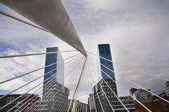 Bilbao bridge abstract geometric. Twin towers Stock Photography