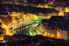 Bilbao city at night Stock Image