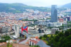 Bilbao city skyline tilt shift effect. stock photo