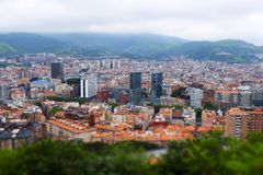 Bilbao city skyline tilt shift effect. stock photography