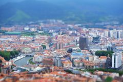Bilbao city skyline tilt shift effect. royalty free stock images