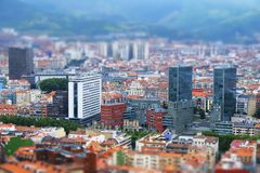 Bilbao city tilt shift effect. royalty free stock images