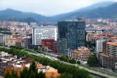 Bilbao city tilt shift effect. Bilbao city tilt shift effect, Spain stock photography