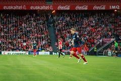 BILBAO, ESPAÑA - 20 DE ABRIL: Fernando Torres en el partido entre el Athletic de Bilbao y Athletico de Madrid, celebrada el 20 de Fotos de archivo libres de regalías