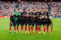 BILBAO, ESPAÑA - 28 DE AGOSTO: Actitudes del FC Barcelona para la prensa en el partido entre el Athletic de Bilbao y el FC Barcel foto de archivo