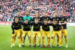BILBAO, ESPAÑA - 22 DE ENERO: Formación de Atletico Madrid para una foto del equipo antes del comienzo el partido de Liga del La Imagen de archivo libre de regalías