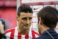 BILBAO, ESPAÑA - 18 DE SEPTIEMBRE: Aritz Aduriz, jugador atlético de Bilbao del club, en una entrevista de los deportes después d Fotos de archivo