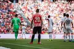 BILBAO, ESPAÑA - 18 DE SEPTIEMBRE: Aritz Aduriz, jugador del Athletic de Bilbao, en el partido entre el Athletic de Bilbao y el V Foto de archivo libre de regalías