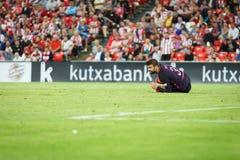 BILBAO, ESPAGNE - 28 AOÛT : Gerard Pique, joueur de FC Barcelona, dans l'action pendant un match de ligue espagnol entre l'Athlet Photo stock