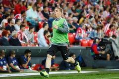 BILBAO, ESPAGNE - 28 AOÛT : Iker Muniain, joueur sportif de Bilbao de club, dans le chauffage dans la correspondance entre l'Athl Image libre de droits