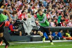 BILBAO, ESPAGNE - 28 AOÛT : Iker Muniain, joueur sportif de Bilbao de club, dans le chauffage dans la correspondance entre l'Athl Images stock