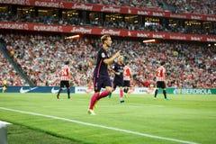 BILBAO, ESPAGNE - 28 AOÛT : Ivan Rakitic et Lionel Messi célébrant un but de FC Barcelona au betw espagnol de match de match de l Photographie stock libre de droits