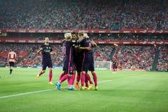 BILBAO, ESPAGNE - 28 AOÛT : Ivan Rakitic, Leo Messi et Sergio Busquets célébrant un but au betwee espagnol de match de match de l Images libres de droits