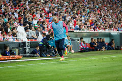 BILBAO, ESPAGNE - 28 AOÛT : Javier Mascherano, joueur de FC Barcelona, dans le chauffage pendant un match de ligue espagnol entre Images libres de droits