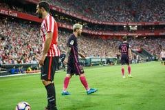 BILBAO, ESPAGNE - 28 AOÛT : Joueur de Leo Messi, de FC Barcelona, et Mikel Balenziaga, joueur de Bilbao, dans la correspondance e Photo libre de droits