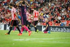 BILBAO, ESPAGNE - 28 AOÛT : Leo Messi, joueur de FC Barcelona, dans l'action pendant un match de ligue espagnol entre l'Athletic  Images stock