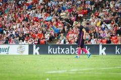 BILBAO, ESPAGNE - 28 AOÛT : Leo Messi, joueur de FC Barcelona, dans l'action pendant un match de ligue espagnol entre l'Athletic  Photographie stock libre de droits