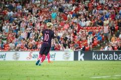 BILBAO, ESPAGNE - 28 AOÛT : Leo Messi, joueur de FC Barcelona, dans l'action pendant un match de ligue espagnol entre l'Athletic  Image stock