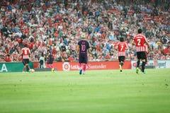 BILBAO, ESPAGNE - 28 AOÛT : Lionel Messi, joueur de FC Barcelona, dans l'action pendant un match de ligue espagnol entre l'Athlet Photographie stock libre de droits