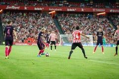 BILBAO, ESPAGNE - 28 AOÛT : Lionel Messi, joueur de FC Barcelona, dans l'action pendant un match de ligue espagnol entre l'Athlet Photographie stock