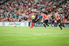 BILBAO, ESPAGNE - 28 AOÛT : Luis Saurez, joueur de FC Barcelona, dans l'action pendant un match de ligue espagnol entre l'Athleti Photographie stock