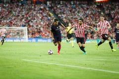 BILBAO, ESPAGNE - 28 AOÛT : Luis Suarez, joueur de FC Barcelona, dans l'action pendant un match de ligue espagnol entre l'Athleti Image stock