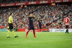 BILBAO, ESPAGNE - 28 AOÛT : Luis Suarez, joueur de FC Barcelona, dans l'action pendant un match de ligue espagnol entre l'Athleti Photo stock