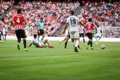 BILBAO, ESPAGNE - 18 SEPTEMBRE : Rodrigo Moreno et Aymeric Laporte, pendant un match de ligue espagnol entre l'Athletic Bilbao et Photographie stock libre de droits