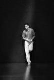 BILBAO, ESPANHA - 9 DE ABRIL: Mikel Urrutikoetxea no partido do campeonato do handball dos pares, comemorado o 9 de abril de 2016 Fotografia de Stock Royalty Free