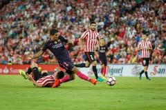 BILBAO, ESPANHA - 28 DE AGOSTO: Luis Suarez, jogador do FC Barcelona, na ação durante uma harmonia de liga espanhola entre Athlet Imagens de Stock Royalty Free