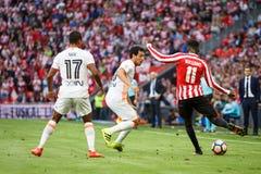 BILBAO, ESPANHA - 18 DE SETEMBRO: Inaki Williams, Dani Parejo e Nani, durante a harmonia entre Athletic Bilbao e o Valencia CF, c Imagem de Stock Royalty Free