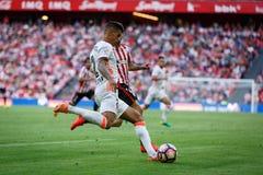 BILBAO, ESPANHA - 18 DE SETEMBRO: Joao Cancelo, jogador do Valencia CF, na harmonia entre Athletic Bilbao e o Valencia CF, comemo Fotografia de Stock Royalty Free