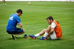BILBAO, ESPANHA - 18 DE SETEMBRO: Jose Luis Gaya, jogador do Valencia CF, no aquecimento antes à harmonia entre Athletic Bilbao e Fotografia de Stock Royalty Free