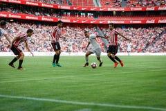 BILBAO, ESPANHA - 18 DE SETEMBRO: Rodrigo Moreno, jogador do Valencia CF, na ação durante a harmonia entre Athletic Bilbao e Valê Fotos de Stock