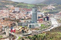 Bilbao från över Arkivfoto