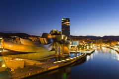 Bilbao - Guggenheim Museum - Night view. The Guggenheim Museum Bilbao is a museum of modern and contemporary art, designed by Canadian-American architect Frank Royalty Free Stock Photo
