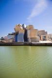 Bilbao Guggenheim Museum panoramic. Bilbao - April 5: The Guggenheim Museum Bilbao is a museum of modern and contemporary art designed by Canadian-American Royalty Free Stock Photo