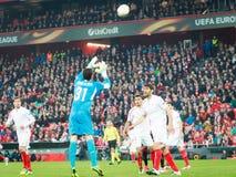 BILBAO, HISZPANIA - ARPIL 7: David Soria w dopasowaniu między Sportowym Bilbao i Sevilla w UEFA Europa liga, świętującym na Apr obraz stock