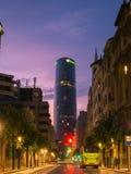 BILBAO HISZPANIA, lipiec, - 08: Iberdrola wierza przy zmierzchem w Bilbao, Hiszpania na Lipu 08, 2018 165m wierza inaugurował w 2 fotografia stock