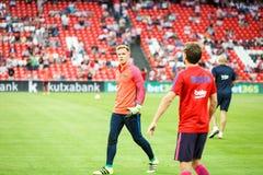 BILBAO HISZPANIA, SIERPIEŃ, - 28: Andre ter Stegen w ogrzewaniu dopasowanie między Sportowym Bilbao Barcelona i FC, świętującym Obrazy Stock